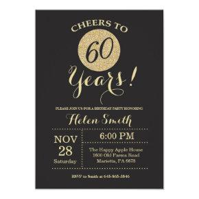 60th Birthday Invitations Black and Gold Glitter