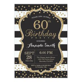 60th Birthday Invitation. Black and Gold Glitter Card