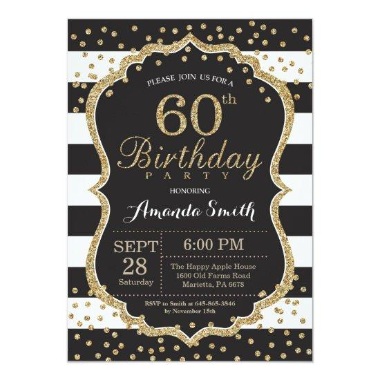60th Birthday Invitation. Black and Gold Glitter Invitations