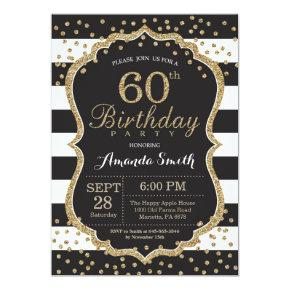 60th Birthday Invitations. Black and Gold Glitter Invitations