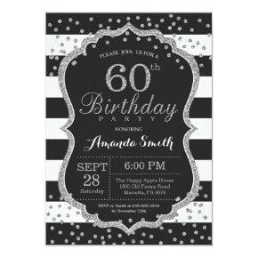 60th Birthday Invitation. Black and Silver Glitter Invitation