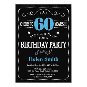 60th Birthday Invitation Blue and Black Chalkboard