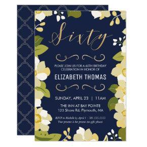 60th Birthday Invitation, Customize Floral w/ Gold Invitation