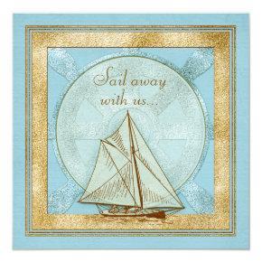 60th Birthday Invitation | Nautical Sailboat Blue