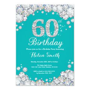 60th Birthday Invitation Teal and Silver Diamond