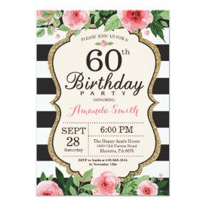 60th Birthday Invitations Women. Floral Gold Black