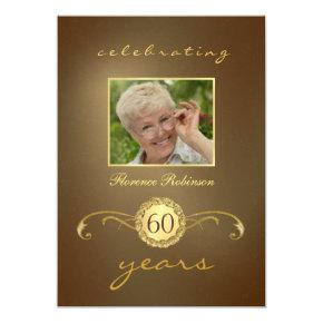 60th Birthday  - Antique Gold Monogram