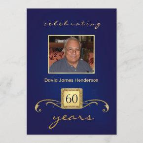60th Birthday  - Monogram Blue & Gold