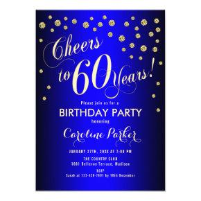 60th Birthday Party - Gold Royal Blue Invitation