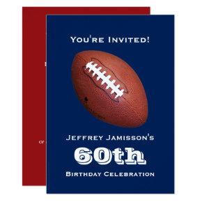 60th Birthday Party Invitation, Football, Blue Invitation