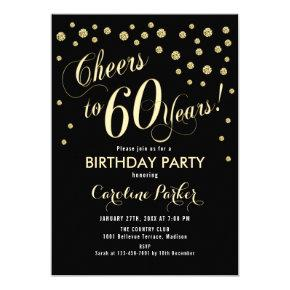 60th Birthday Party Invitation - Gold Black