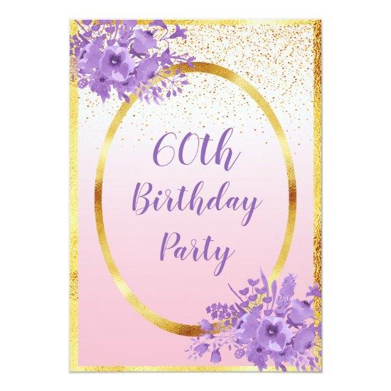 60th Birthday Party Invitations Rose Gold Flowers Candied Clouds