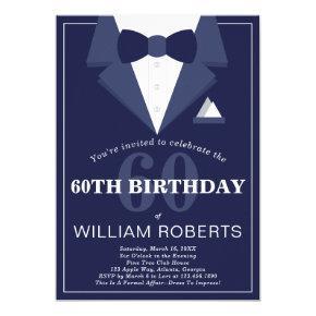60th Birthday Party Invitation, Tuxedo Invitation