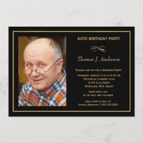 60th Birthday Party Man's Black & Gold Invitation