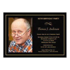 60th Birthday Party Man's Black & Gold Invitation