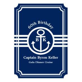 60th Birthday Party on a Boat Nautical Custom Card