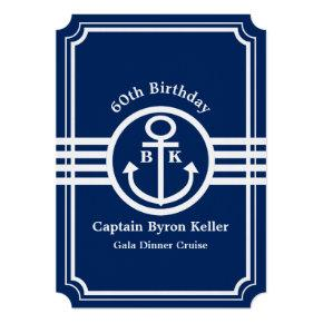 60th Birthday Party on a Boat Nautical Custom Invitation