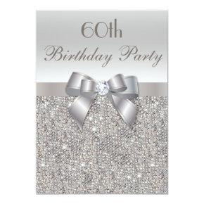 60th Birthday Party Silver Sequins, Bow & Diamond Invitation