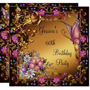 60th Birthday Pink Floral Butterfly Gold Black Invitation
