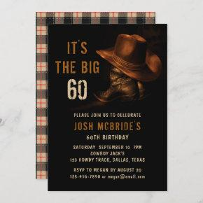 60th Birthday Rustic Cowboy Hat and Leather Boots Invitation