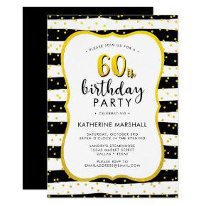 60th Birthday Striped Gold and Black Invitations