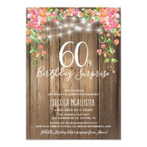 60th Birthday Surprise Brunch Rustic Floral Wood Invitation