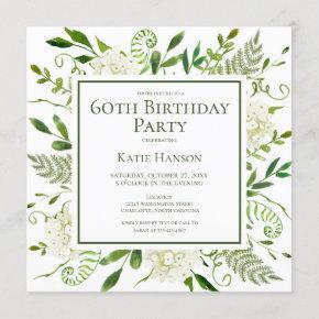 60th Birthday White Hydrangeas Floral Watercolor Invitation