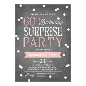 60th Confetti Surprise Party Invitation | Birthday