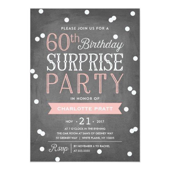 60th Confetti Surprise Party Invitation Birthday Candied Clouds