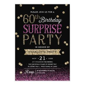 60th Glitter Confetti Surprise Party Invitations
