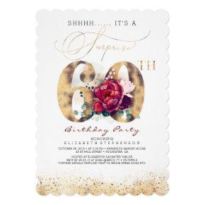 60th Surprise Birthday Party Gold and Burgundy Invitation