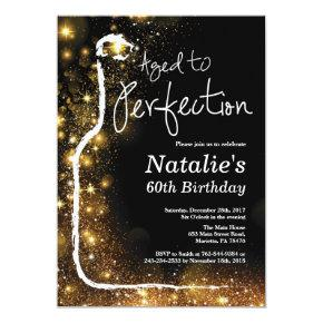 60th Wine Birthday Invitations. Aged to Perfection Invitations