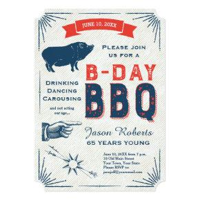 65th Birthday BBQ Party All American Vintage Invitation