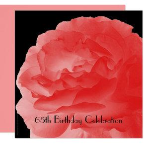 65th Birthday Celebration Invitations Coral Rose
