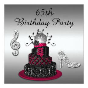 65th Birthday Disco Diva Cake and Sparkle Heels Invitation