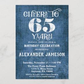 65th Birthday Invitation Blue Linen Rustic Cheers