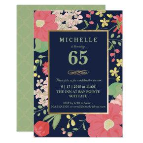 65th Birthday Invitations - Gold, Elegant Floral
