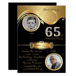 65th,Birthday Man 65th,elegant art deco,black gold Invitation