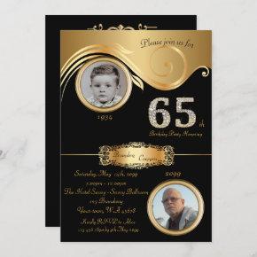 65th,Birthday Man 65th,elegant art deco,black gold Invitation