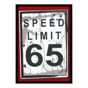 65th Birthday Party Grungy Speed Limit Sign Card