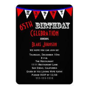 65th Birthday Party Invitations Bunting