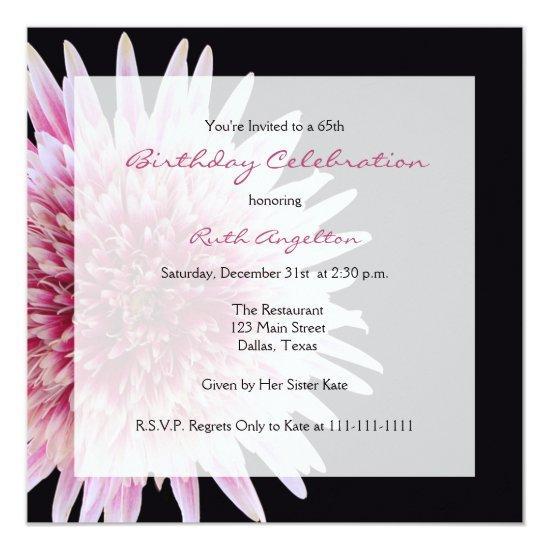 65th Birthday Party Invitations Gerbera Daisy