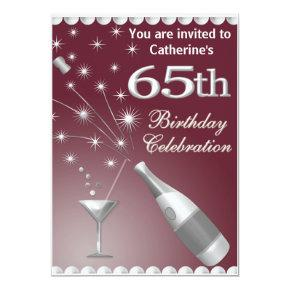 65th Birthday Party Invitation - Red & Silver