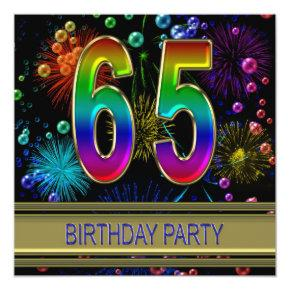 65th Birthday party Invitations with bubbles