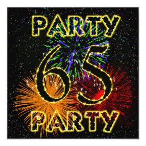 65th birthday party invitation with fireworks