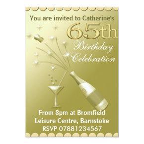 65th Birthday Party Invitations - Gold