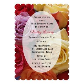 65th Birthday Party Multi Color Roses Invitations