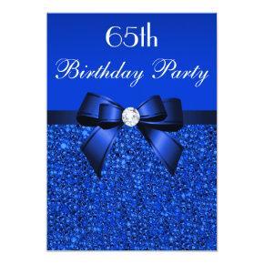 65th Birthday Royal Blue Sequins Bow and Diamond Invitations