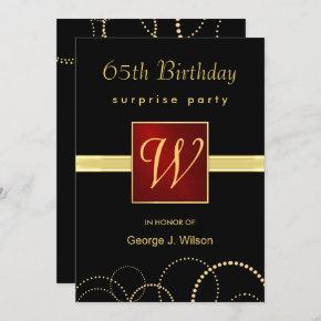 65th Birthday Surprise Party - Elegant Monogram Invitation