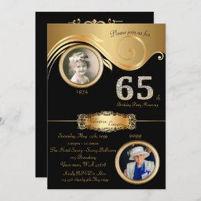 65th,Birthday Woman 65th,elegant art deco,black Invitation